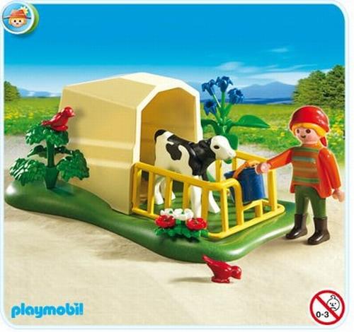 Playmobil Abri avec veau et fermière 5124