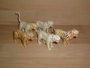 Lot de 5 tigres blancs cassés et en mauvais état