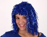 Perruque disco brillante bleue