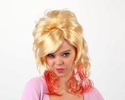 Perruque blonde mèches de couleur