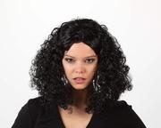 Perruque brune cheveux frisés