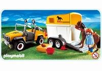 Playmobil Cavalière  jeep et van  3249 (boite abîmée)