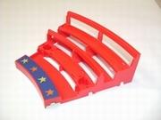 Estrade rouge pour support poteau bleu