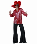 Deguisement costume Disco homme rouge