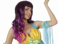 Perruque longue bouclée violette sirène
