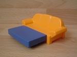 Canapé lit jaune et bleu